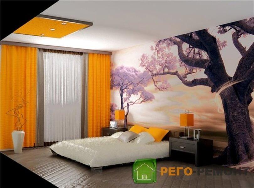 Ремонты спальни с рисунком на стенах