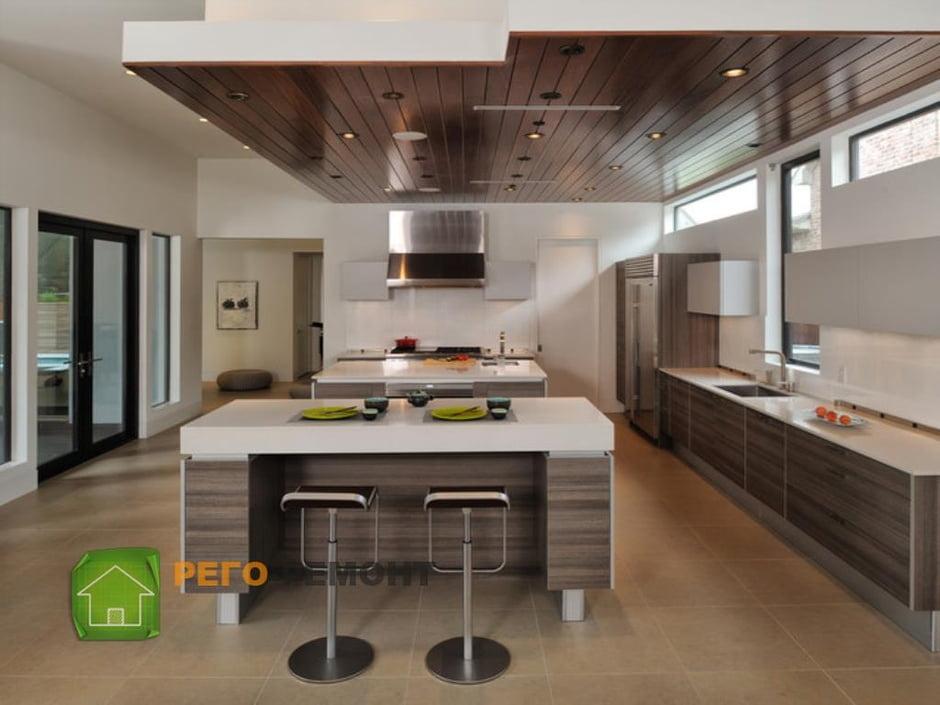 Дизайн кухни в брусовом доме 2017-2018 современные идеи